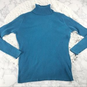 L.L. Bean Turquoise Ribbed Turtleneck Sweater